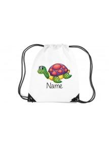 Gymsac Turnbeutel mit schönen Motiven inkl Ihrem Wunschnamen, Schildkröte