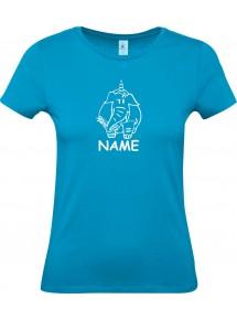Lady T-Shirt lustige Tiere mit Wunschnamen Einhornelefant, Einhorn, Elefant