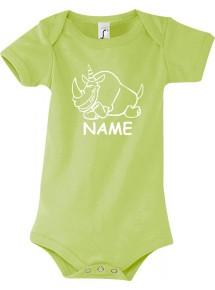 Baby Body lustige Tiere mit Wunschnamen Einhornnashorn, Einhorn, Nashorn