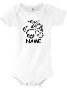 Baby Body lustige Tiere mit Wunschnamen Einhornziege, Einhorn, Ziege
