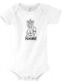 Baby Body lustige Tiere mit Wunschnamen Einhornkatze, Einhorn, Katze