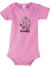 Baby Body lustige Tiere mit Wunschnamen Einhornelefant, Einhorn, Elefant