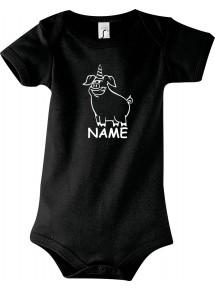 Baby Body lustige Tiere mit Wunschnamen Einhornschwein, Einhorn, Schwein, Ferkel