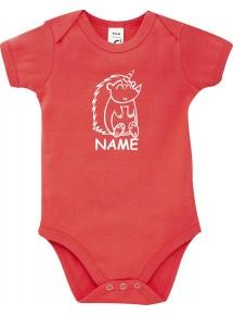 Baby Body lustige Tiere mit Wunschnamen Einhornigel, Einhorn, Igel