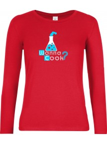 Wanna Cook® Lady-Longshirt Wanna Cook Reagenzglas Test Tube, rot, Größe L