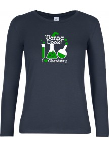 Wanna Cook® Lady-Longshirt Wanna Cook Reagenzglas I love Chemistry