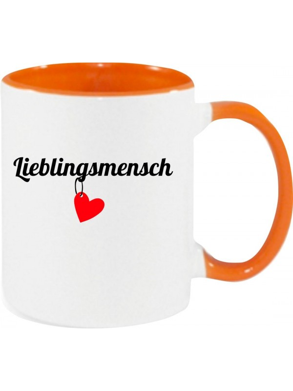 Kaffeepott Lieblingsmensch Herz , orange