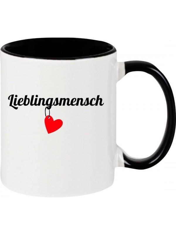 Kaffeepott Lieblingsmensch Herz , schwarz