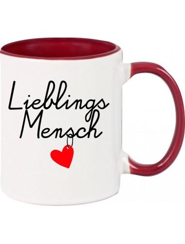 Kaffeepott Partnergeschenk Lieblingsmensch , burgundy