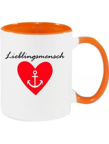 Kaffeepott Partnergeschenk Lieblingsmensch Anker , orange
