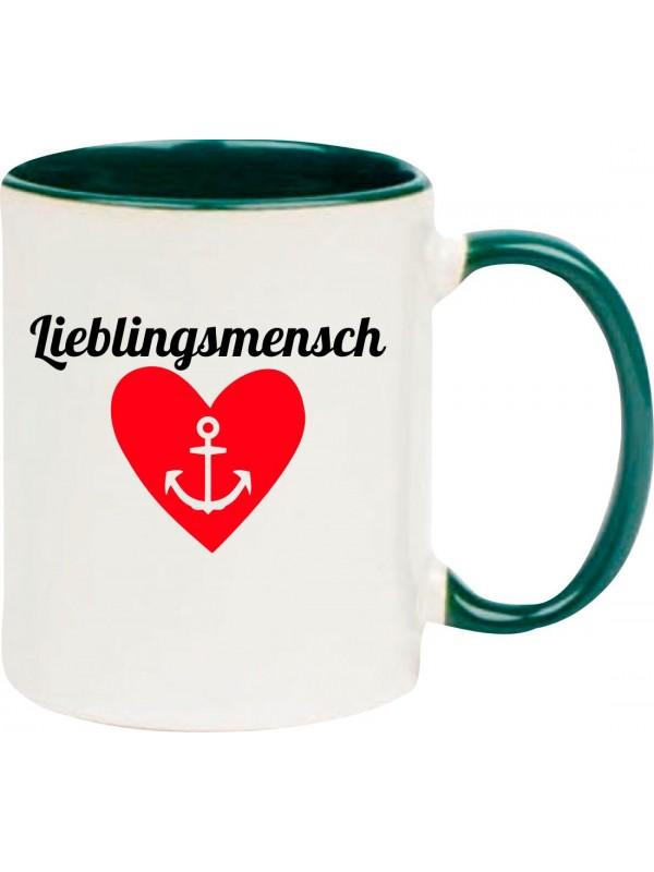 Kaffeepott Herz Anker Lieblingsmensch , gruen