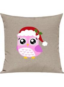 Kinder Kissen, Eule Owl Weihnachten Christmas Winter Schnee Tiere Tier Natur, Kuschelkissen Couch Deko,
