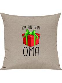 Kinder Kissen, Ich bin dein Geschenk Oma Weihnachten Geburtstag, Kuschelkissen Couch Deko,