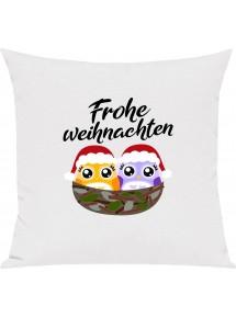Kinder Kissen, Frohe Weihnachten Eule Merry Christmas, Kuschelkissen Couch Deko,