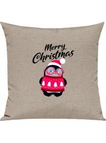 Kinder Kissen, Merry Christmas Pinguin Frohe Weihnachten, Kuschelkissen Couch Deko,
