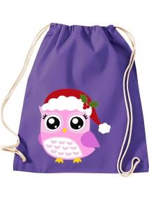 Kinder Gymsack, Eule Owl Weihnachten Christmas Winter Schnee Tiere Tier Natur, Gym Sportbeutel,