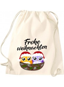 Kinder Gymsack, Frohe Weihnachten Eule Merry Christmas, Gym Sportbeutel,
