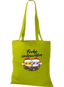 Kinder Tasche, Frohe Weihnachten Eule Merry Christmas, Tasche Beutel Shopper