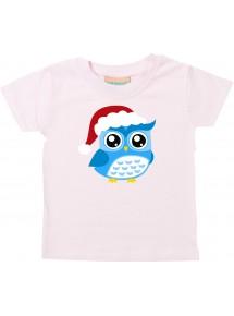 Baby Kids-T, Eule Owl Weihnachten Christmas Winter Schnee Tiere Tier Natur, rosa, 0-6 Monate