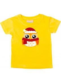 Baby Kids-T, Eule Owl Weihnachten Christmas Winter Schnee Tiere Tier Natur, gelb, 0-6 Monate