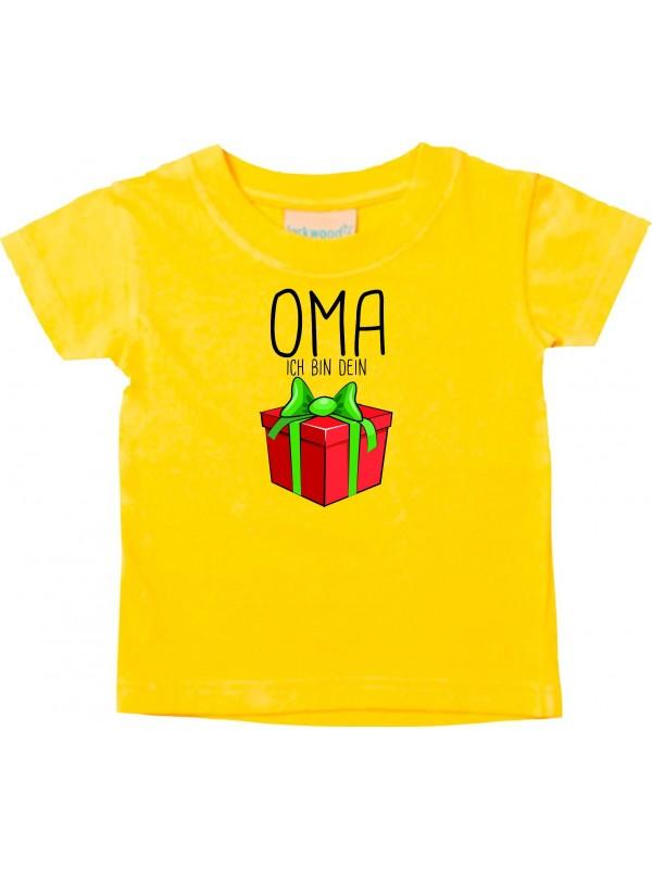 Baby Kids-T, Oma ich bin dein Geschenk Weihnachten Geburtstag, gelb, 0-6 Monate