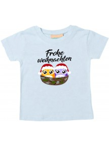 Baby Kids-T, Frohe Weihnachten Eule Merry Christmas, hellblau, 0-6 Monate