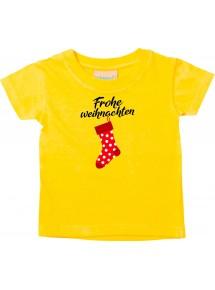 Baby Kids-T, Frohe Weihnachten Weihnachtssocke Merry Christmas, gelb, 0-6 Monate