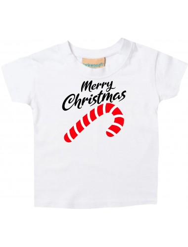 Baby Kids-T, Merry Christmas Zuckerstange Frohe Weihnachten, weiss, 0-6 Monate