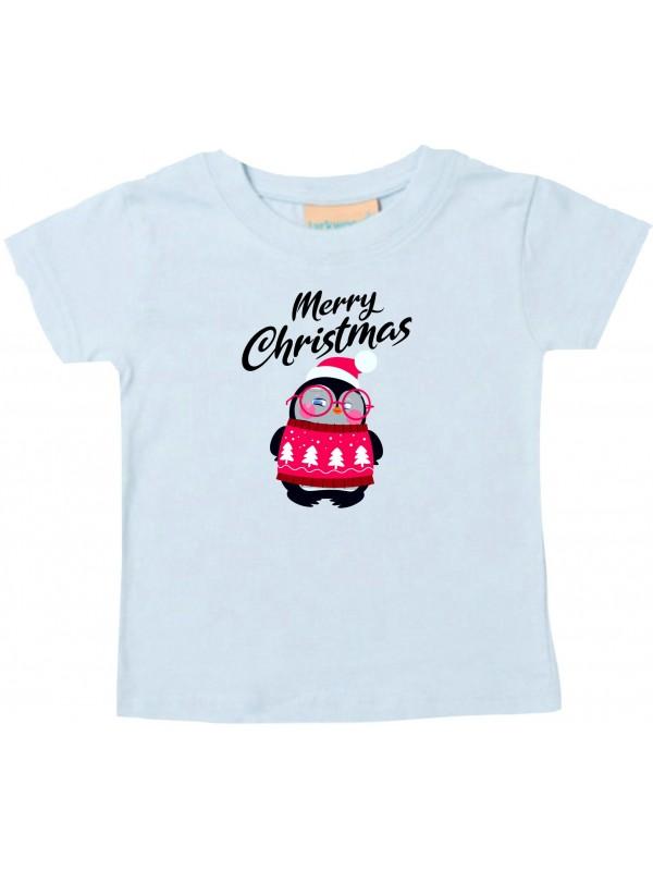 Baby Kids-T, Merry Christmas Pinguin Frohe Weihnachten, hellblau, 0-6 Monate