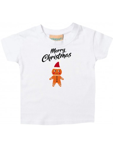 Baby Kids-T, Merry Christmas Lebkuchenmänchen Frohe Weihnachten, weiss, 0-6 Monate