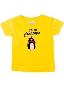 Baby Kids-T, Merry Christmas Bär Frohe Weihnachten, gelb, 0-6 Monate