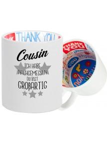 Dankeschön Keramiktasse, ich habe nachgemessen du bist Großartig , Familie