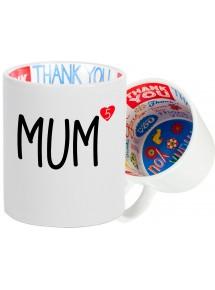 Dankeschön Keramiktasse mit Sprüchen rund um das Thema Familie
