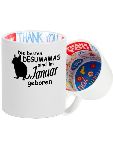 Dankeschön Keramiktasse, Die besten Degumamas sind im Januar geboren Degu Haustier