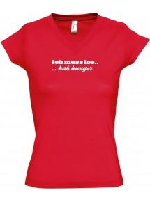 sportlisches Ladyshirt mit V-Ausschnitt kultiger Spruch ich muss los  hab Hunger