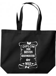 große Einkaufstasche, Diplom zum besten Hausmeister der Welt, Farbe schwarz