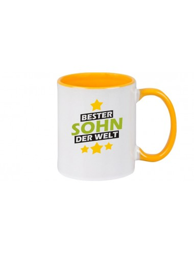 Kaffeepott beidseitig mit Motiv bedruckt bester Sohn der Welt, Farbe gelb