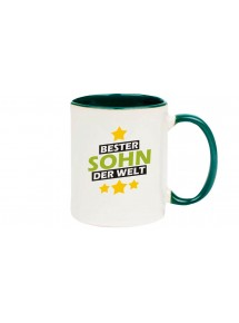 Kaffeepott beidseitig mit Motiv bedruckt bester Sohn der Welt, Farbe gruen