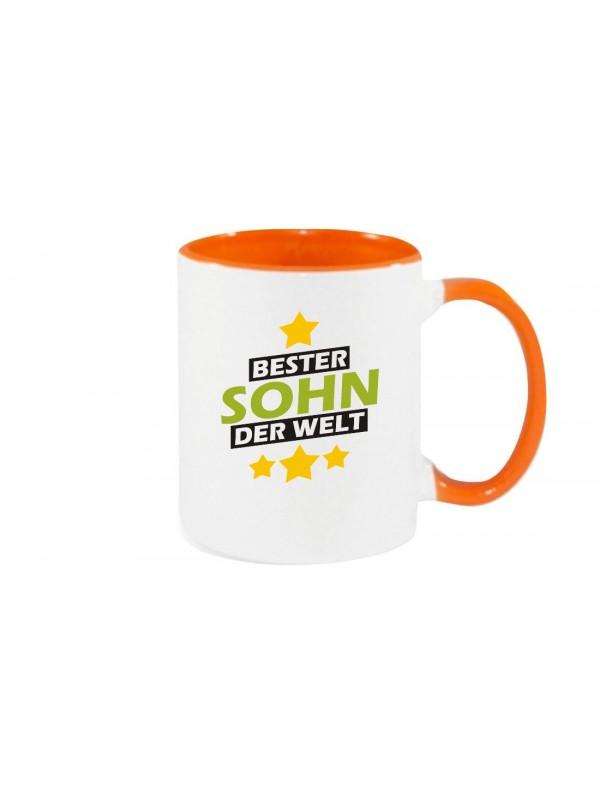Kaffeepott beidseitig mit Motiv bedruckt bester Sohn der Welt, Farbe orange