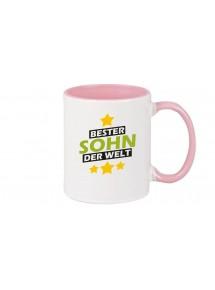 Kaffeepott beidseitig mit Motiv bedruckt bester Sohn der Welt, Farbe rosa