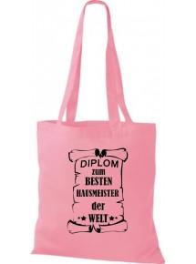 Stoffbeutel Diplom zum besten Hausmeister der Welt Farbe rosa