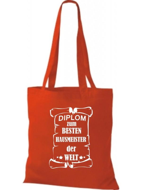 Stoffbeutel Diplom zum besten Hausmeister der Welt Farbe rot