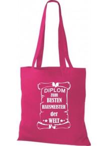 Stoffbeutel Diplom zum besten Hausmeister der Welt Farbe pink