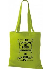 Stoffbeutel Diplom zum besten Hausmeister der Welt Farbe kiwi