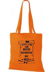 Stoffbeutel Diplom zum besten Hausmeister der Welt Farbe orange