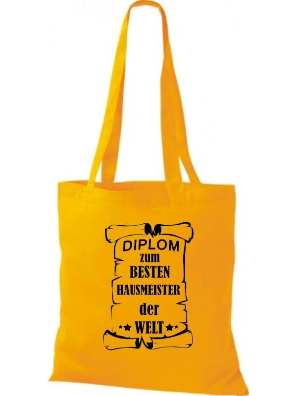 Stoffbeutel Diplom zum besten Hausmeister der Welt Farbe gelb